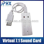 USB 2.0 microphone Virtual 7.1 Channel 3d audio sound card usb driver - White
