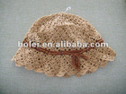 Spring thin knitted bucket hat with bowknot design