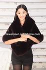 Genuine Mink Fur Shawl With Fox Fur Trim