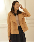 2012 new korean ladies'fashion double-breasted short tweed coat