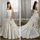 Contemporary A-line Sweetheart Pleated White Satin Appliqued Bridal Gown with Flowers