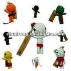 cute little handicraft fabric string voodoo doll black,little doll