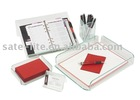 Glasstique 5-Piece Sets(Desk Tray/Memo Holder/Pencil Cup/Planner Stand/Business Card Holder)