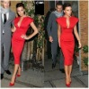 RED112 Victoria Beckham Celebrity Dress Short Sexy Deep V-neck Short Sleeves Evening Dress