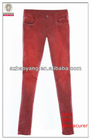 ladies fashion tight fit vivid red skinny washed out jean trousers