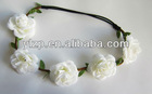 2012 Lastest arrival elegant elastic headband with white rose(YL2121119-2)