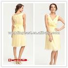 Discount Custom A-Line V-Neck Short Chiffon Ruffle Bridesmaid Dresses