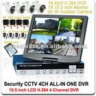 Surveillance CCTV System 4CH ALL-IN-ONE H.264 DVR, 10.5 inch LCD Monitor, 4X IR Day/Night Video Camera
