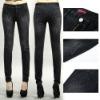 2012 designer knit jeans sexy black pents--denim leggings with pocket