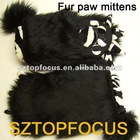 Newest Black Monster Paw Faux Fur Mittens Winter Gloves