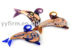 Gold-sand Fish Murano Lampwork Glass Pendant Necklace