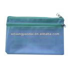 Plastic mesh pencil Bag for Promotion office stationery document bag with two zippers