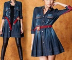 2012 Autumn OL Lapel Denim High-Waist Pleated winter dresses