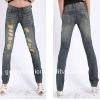 Latest Women Design Denim Skinny Blue Jeans with 10 Top