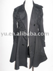 Plus Size Women's Black Trench Coat Clothing