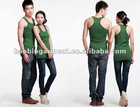 low price soft and thin plain green vest