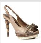 Genuine leather high heel beige ladies sandals