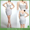 Graceful spaghetti strap beaded short evening dress