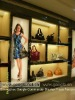 stylish MDF glass handbags display shelf for kiosk mall with LED