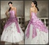 W240 Fashion Applique Ruffle Strapless Satin Bubble Wedding Dress