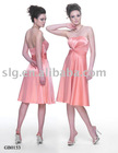 Tea length strapless of stretch acetate Bridesmaid dress