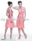 Tea length strapless of stretch acetate Bridesmaid dress