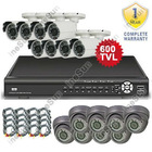 16CH CCTV System 8PCS 3.6mm Weatherproof & 8PCS 4-9mm Dome Day&Night Camera H.264 Network DVR