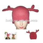 100% Acrylic Knitted Hat with Reindeer for Christmas, Antler Christmas Hat