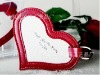 cheap red pu leather luggage tag of heart shape