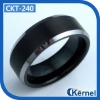 Black tungsten carbide rings for men with polished beveled edge