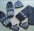100% acrylic knitted hat scarf gloves set with jacquard
