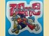 colorful skating cartoon label for kids