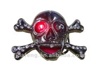 skull and crossbone led belt buckle with diamonds