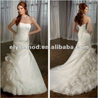 Opulent A-line Strapless Appliqued White Organza Chapel Train New Style Wedding Dress