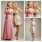 Concise Strapless Ruffle Handmade Flower A-line Long Chiffon 2012 New Bridesmaid Dresses