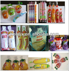 peach juice fruit shape sachet bag filling and sealing packing machine with 8 nozzle