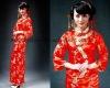 Hot sale long sleeve floor length cheong-sam dress CWFax3573