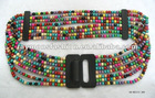 Unique style women's belt with colorful pearls