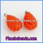 Wholesale Orange Rhinestone Pave Charms and Pendants For Necklace Making CNP-Z04