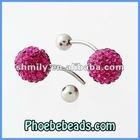 Wholesale New Hot Bell Navel Belly Ring Fuchsia 10mm Crystal Disco Ball Body Piercing Jewelry Belly Button Rings BBR-A004