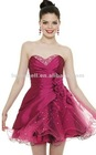 Traditional Sweetheart Purple Satin Short Evening Dress