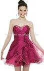 Traditional Sweetheart Purple Satin Short Evening Dress