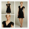 Goingwedding black low v-neck sleeves Sexy short skirt Bridesmaid Dress 2012 LA0504