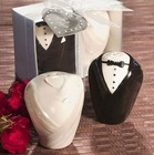 Wedding Gowns and Suits Shape Spice Jars Pepper Porcelain Bottles Wedding Favors