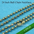 24 Inch 2.4mm Antique Brass / Bronze Brass Ball Chain Necklaces Great for Blank Pendants and Glass Pendants