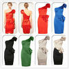 one shoulder lady puff sleeve cocktail party dress