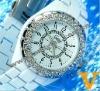 Luxury Women's Bling Wrist Watches w Double Crystal Bezel Black
