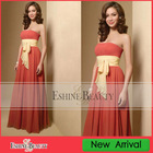 2010 newest red chiffon strapless bridesmaid dress