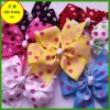 Dots ribbon bow barettes for girls / kids hair accessories (FB013412)