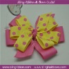 Double Layer Ribbon Bow Yellow Polka and Pink